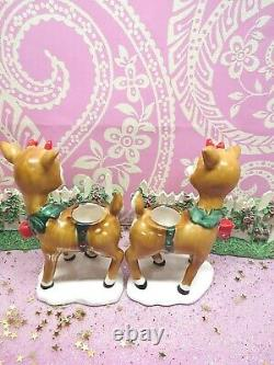 Vtg Lefton Christmas Holly Berry Renne Candle Holders Set Of Two W Arcs Rouges