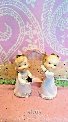 Vtg Set Deux Dancing Anges De Noël Gold Stars & Wand Tulle Fabric Wings